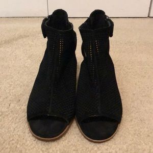 Black booties, mesh material, open toe